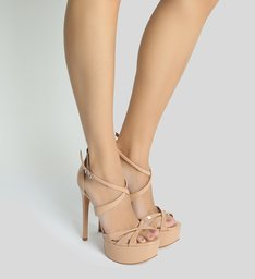 Sandália Salto Curves Verniz Nude