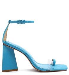 Sandália Salto Triangle Avva Nobuck Transparente Azul