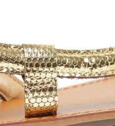 Sandália Rasteira de Tira Dourada