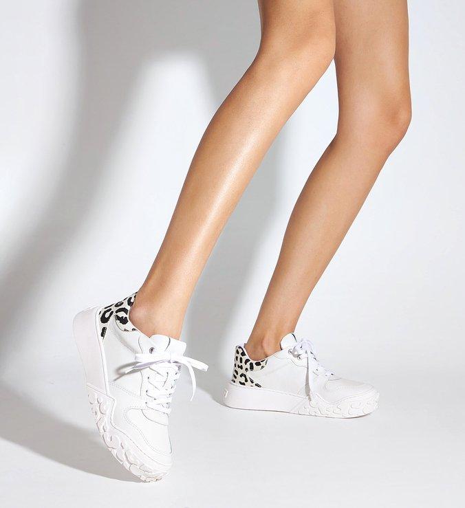 Tênis Branco Feminino Couro Zebra