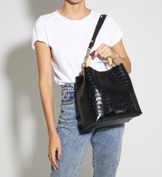 Hobo Bag Believe Bright Croco Black