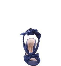 Sandália Block Heel Lace Up Dress Blue