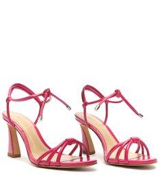 Sandália Salto Amarração Couro Pink