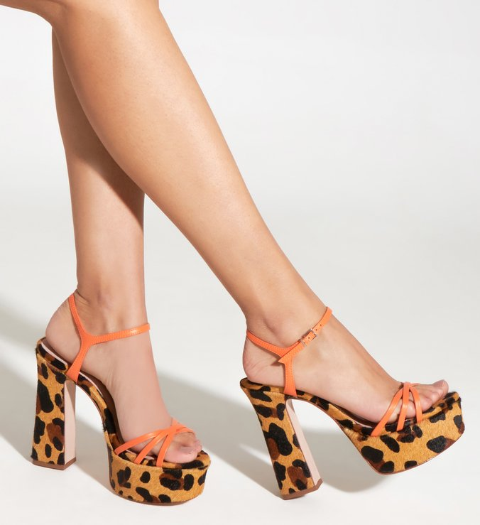 Sandália Meia Pata Bold Animal Print Orange