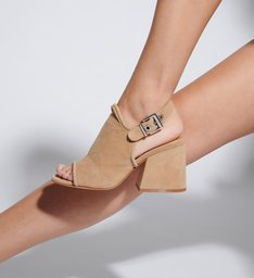 Sandália Block Heel Nobuck Honey