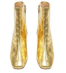 Bota Block Heel Metalizada Dourada