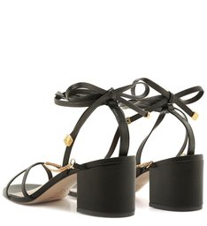 Sandália Block Heel Strings Glam Black