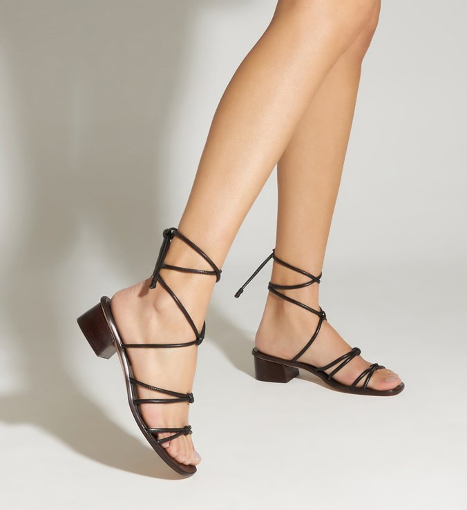 Sandália Micro Block Heel Strings Black
