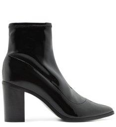 Sock Boot Block Heel Verniz Black