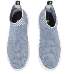 Tênis Cano Alto Tecido Knit Azul