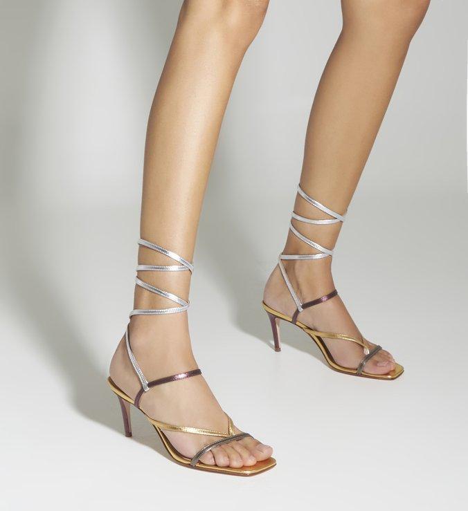 Sandália Salto Flip-Flop Mix Metálico