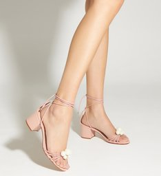 Sandália Block Heel Pearls Rose