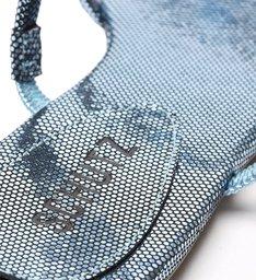 Sandália Rasteira Arc Metalizada Azul