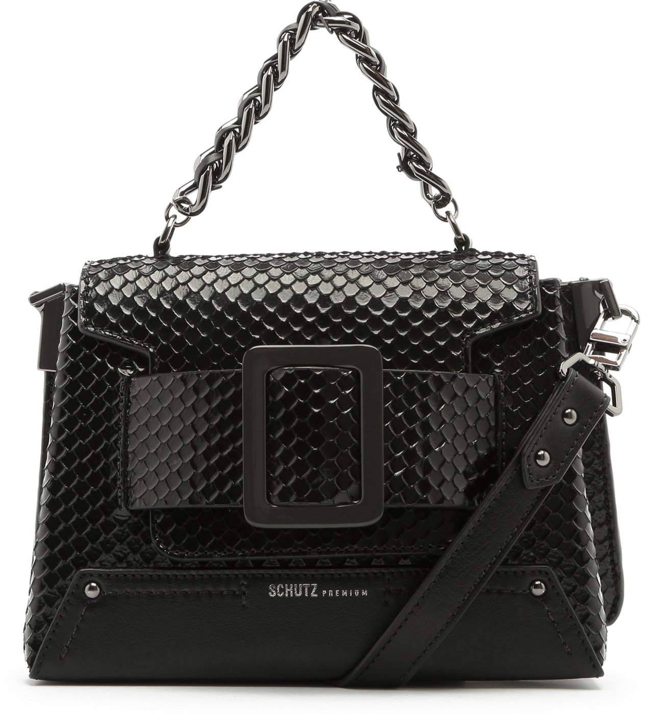 Satchel Buckle Bag Bright Snake Black | Schutz