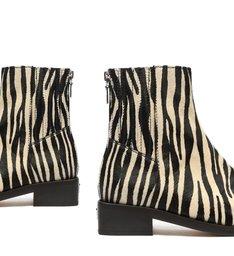 Bota Salto Baixo Bico Quadrado Zebra