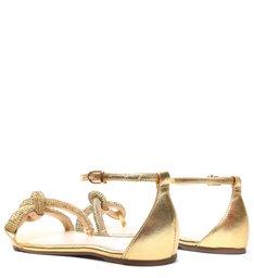 Sandália Rasteira Knot Glam Pedraria Gold