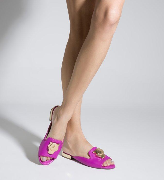 Sapato Mule Baixo Aberto Couro Rosa Panther