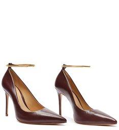 Sapato Scarpin Couro Vinho