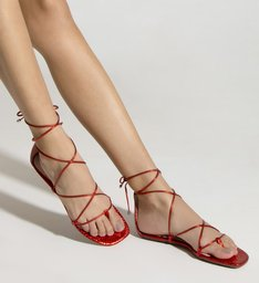 Sandália Rasteira Strings Metallic Red