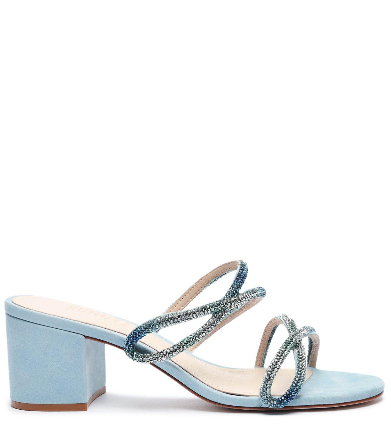 Sandália Mule Block Heel Glam Blue | Schutz