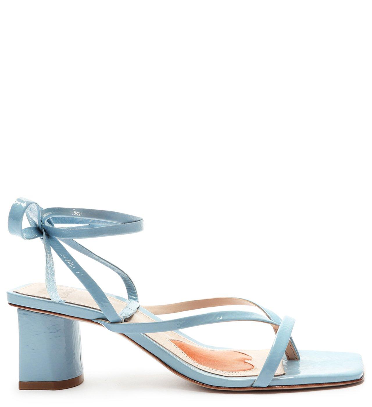 Schutz X Ginger Sandália Block Heel Lace-Up Blue | Schutz