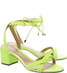 Sandália Block Heel Strings Neon Yellow