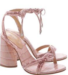Sandália Salto Cone Lace-Up Python Rose