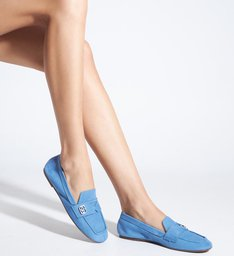 Sapato Mocassim Nobuck Azul