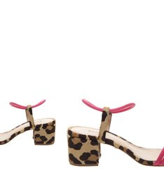 Sandália Block Heel Animal Print Pink