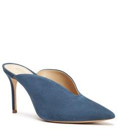 Sapato Mule Salto Camurça Azul
