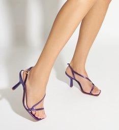 Sandália Curves Vintage Mid Heel Metallic Purple
