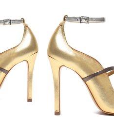 Sandália Salto Alto Metalizada Dourado