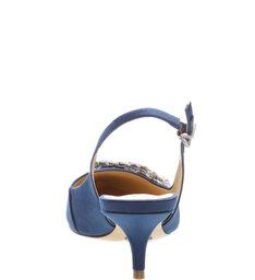 Scarpin Slingback Jewelry Satin Dress Blue