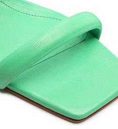 Sandália Mule Salto Bloco Baixo Couro Verde Neon