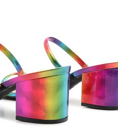 Mule Block Heel Straps Rainbow