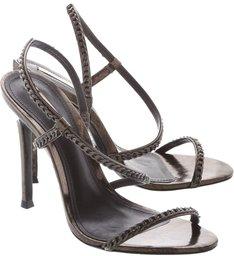 Sandália Salto Fino Multimaterial Metalizado