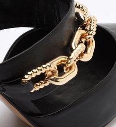 Sapato Scarpin Salto Couro Corrente Preto