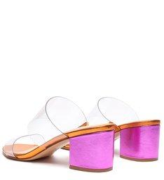 Sandália Mule Salto Bloco Vinil Metalizada Pink