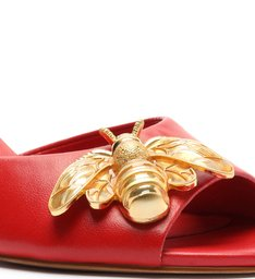 Sandália Mule Salto Bloco Bee Vermelha