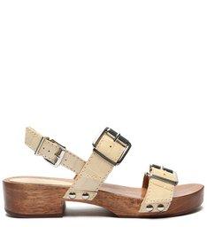 Sandália Salto Bloco Croco Creme