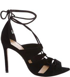 Sandália Bico Folha Lace-Up Black
