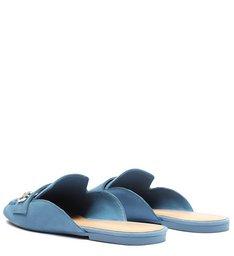 Sapato Mule Rasteira Nobuck Azul
