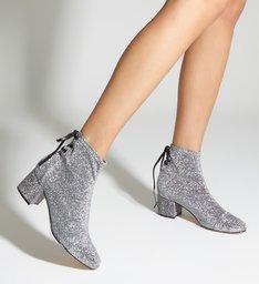 Bota Amarração Stretch Block Heel Prata