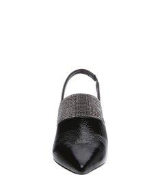 Mule Slingback Verniz Mid Heel Black