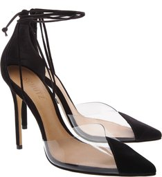 Scarpin Vinil Lace Up Black