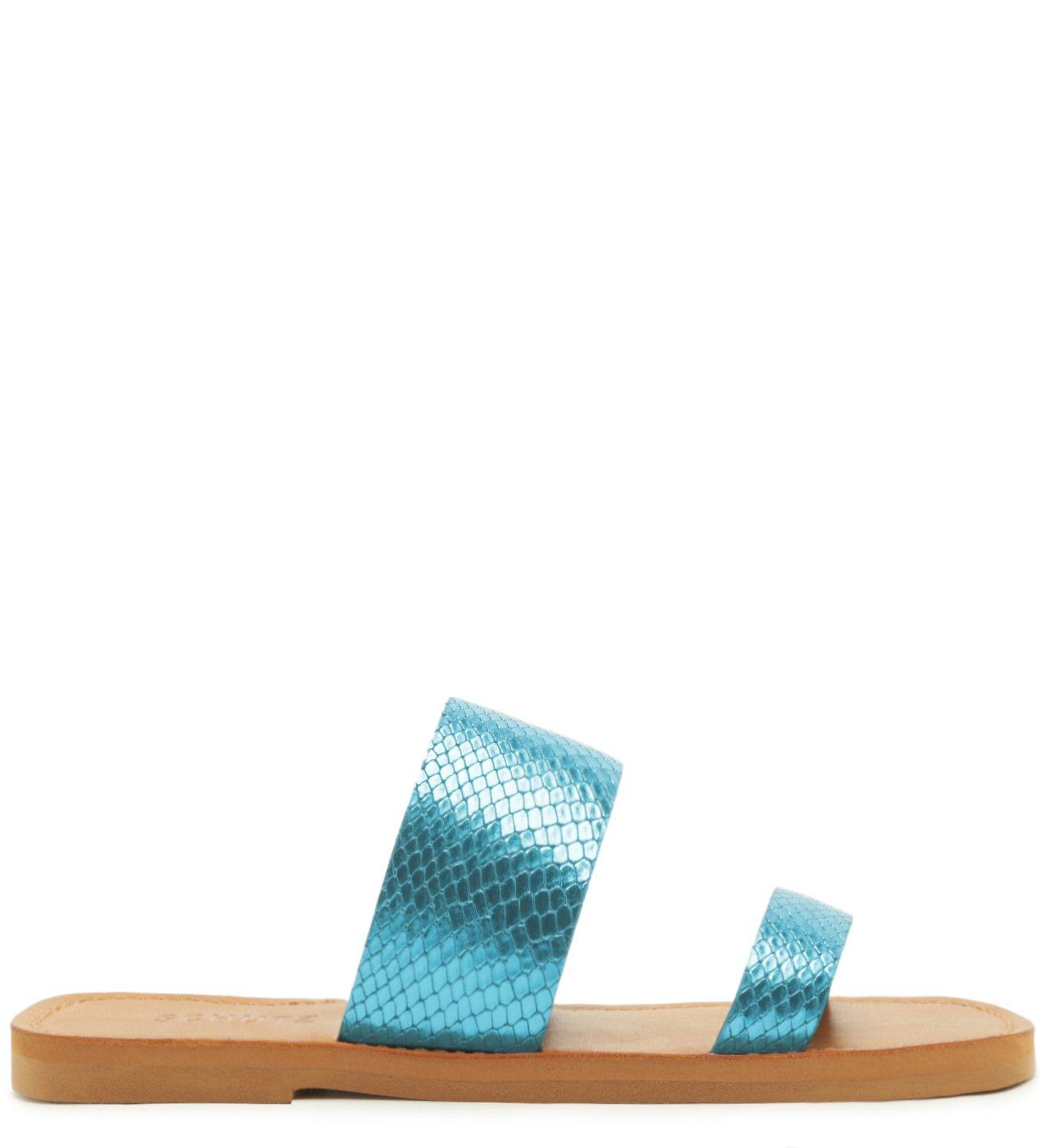 Slide Tiras Duplas Bright Snake Blue | Schutz