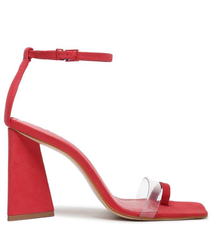 Sandália Salto Triangle Avva Nobuck Transparente Vermelha