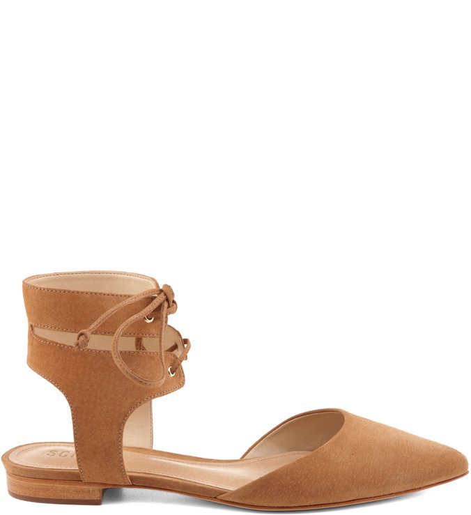 Flat Lace Up Camel