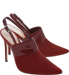 Mule Slingback Verniz Nobuck Red Brown