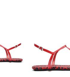 Sandália Rasteira Verniz Onça Vermelha